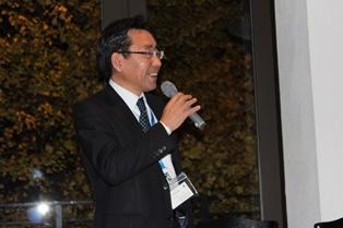 主催者挨拶を述べる、日本知的財産協会 竹本一志 理事長